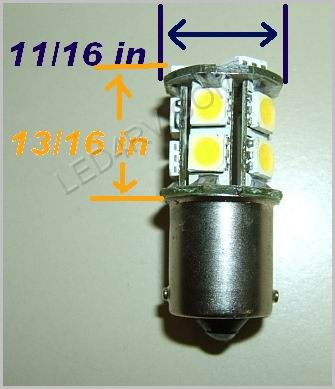 1156 Warm White 13 SMD LED Cluster Light SKU595 - Click Image to Close