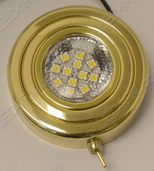 Brass Warm White Puck Light with Switch sku152
