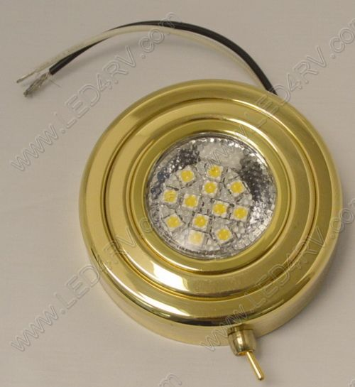 Brass Warm White Puck Light with Switch sku152 - Click Image to Close