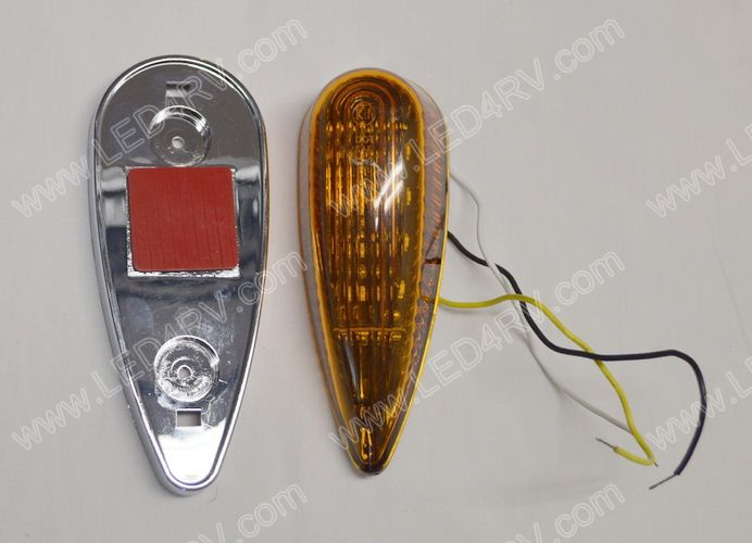 Straight Base 3 Wire Amber 10 LED Teardrop Marker Light sku2397 - Click Image to Close