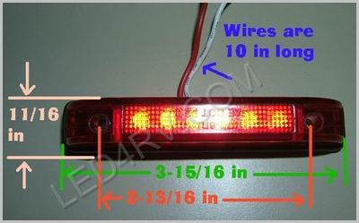 Thin 6 LED Red Clearance Light LED599R SKU237