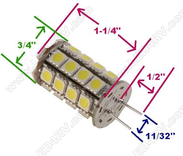G6 LED Replacement with 34 Bright White 5050 LEDs SKU198