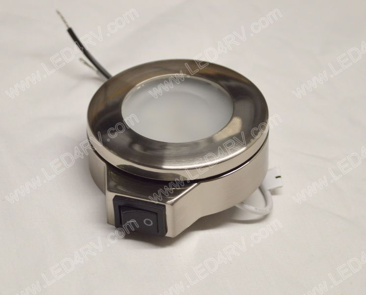 Warm white LED, Surface Mnt wSwitch Brushed Nickel Light SKU2288