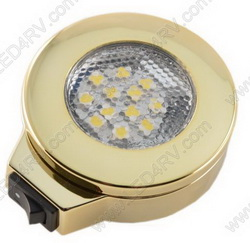 BrightWhite LED Surface Mnt wSwitch Brass Nickel Light SKU145