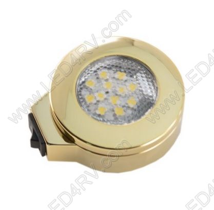 BrightWhite LED Surface Mnt wSwitch Brass Nickel Light SKU145 - Click Image to Close