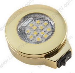 Warm White LED Surface Mnt wSwitch Brass Nickel Light SKU146