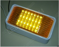Patio LED Light 6 by 3.25 inch with Amber Lens in White SKU1239