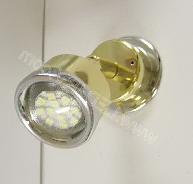 Warm white LED Reading Light Brass with Chrome trim SKU286