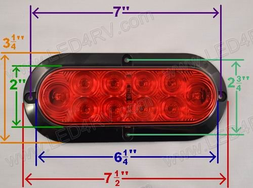 Red LED Waterproof Oval Taillight SKU543