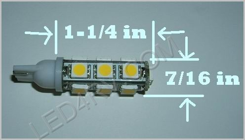 Bright White 13 LED T10 socket T10-13BW SKU322